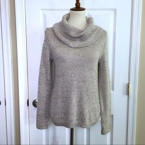 WHBM Tan Sparkly Cowl Neck Pullover Sweater Small